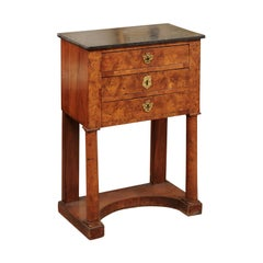 Burled Elm Empire Bedside Commode, Early 19th Century