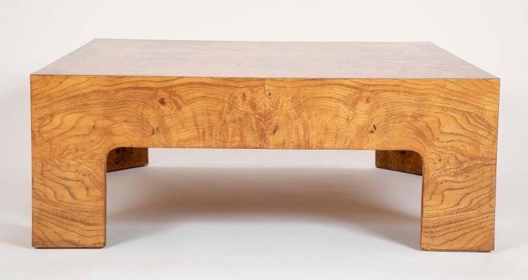 Mid-Century Modern Burled Elm Parsons Style Coffee Table