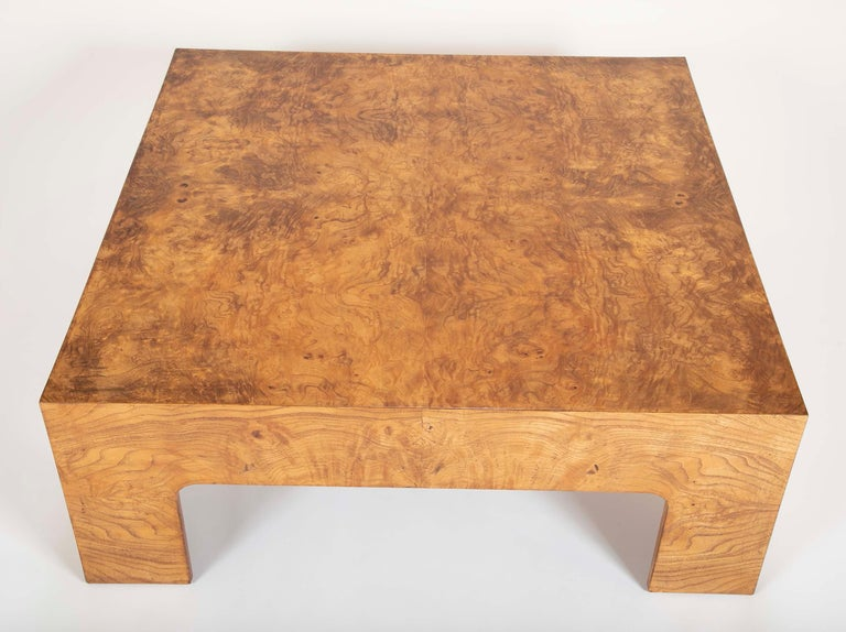 American Burled Elm Parsons Style Coffee Table