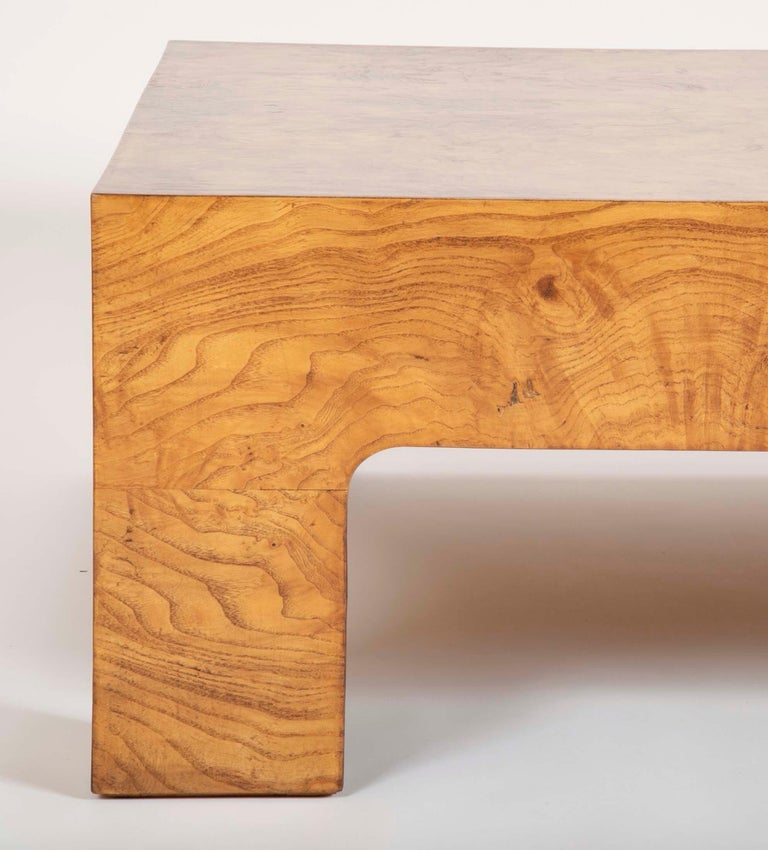Burled Elm Parsons Style Coffee Table In Good Condition In Stamford, CT