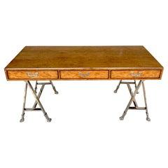 Burled Elmwood Campaign Style Bureau Plat/ Desk