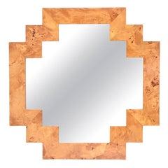 Burled Elmwood Geometric Mirror Italian Vintage
