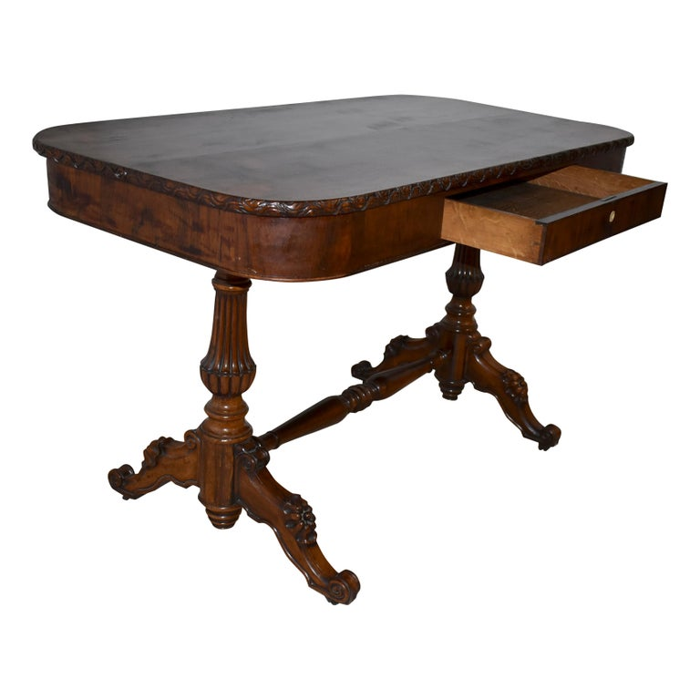 Burled Mahogany Biedermeier Table/Writing Desk, circa 1900 In Good Condition In Evergreen, CO