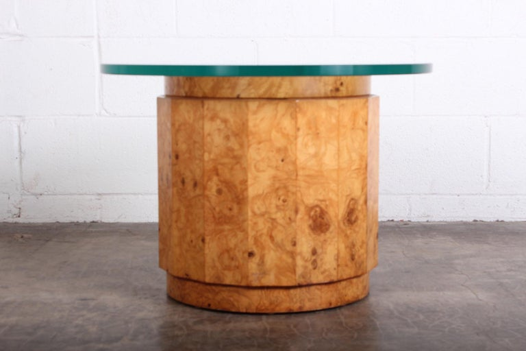 Mid-20th Century Burled Olive Pedestal Table by Edward Wormley for Dunbar For Sale