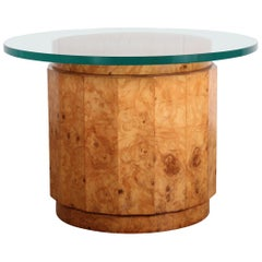 Burled Olive Pedestal Table by Edward Wormley for Dunbar
