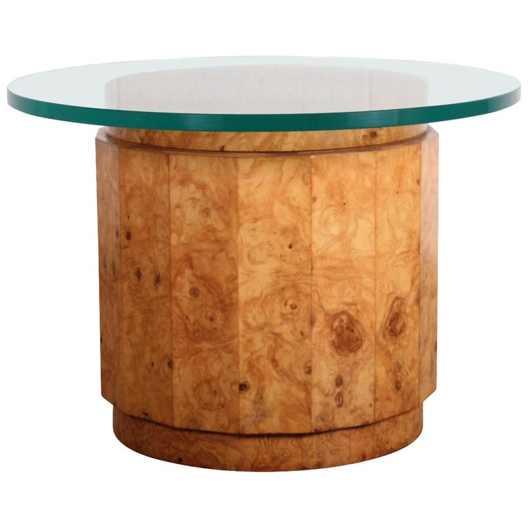Burled Olive Pedestal Table by Edward Wormley for Dunbar For Sale