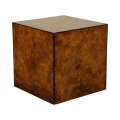 Burled Olivewood Cube Side Table, circa 1970s