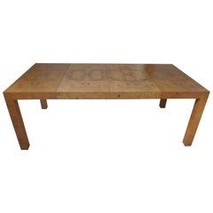 Burled Olivewood Dining Table by Milo Baughman for Directional