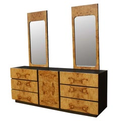 Burled Olivewood Dresser with Two Mirrors