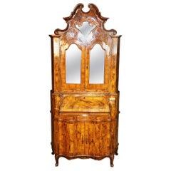 Burled Olivewood Mirrored Italian Provincial Secretary Desk, circa 1920