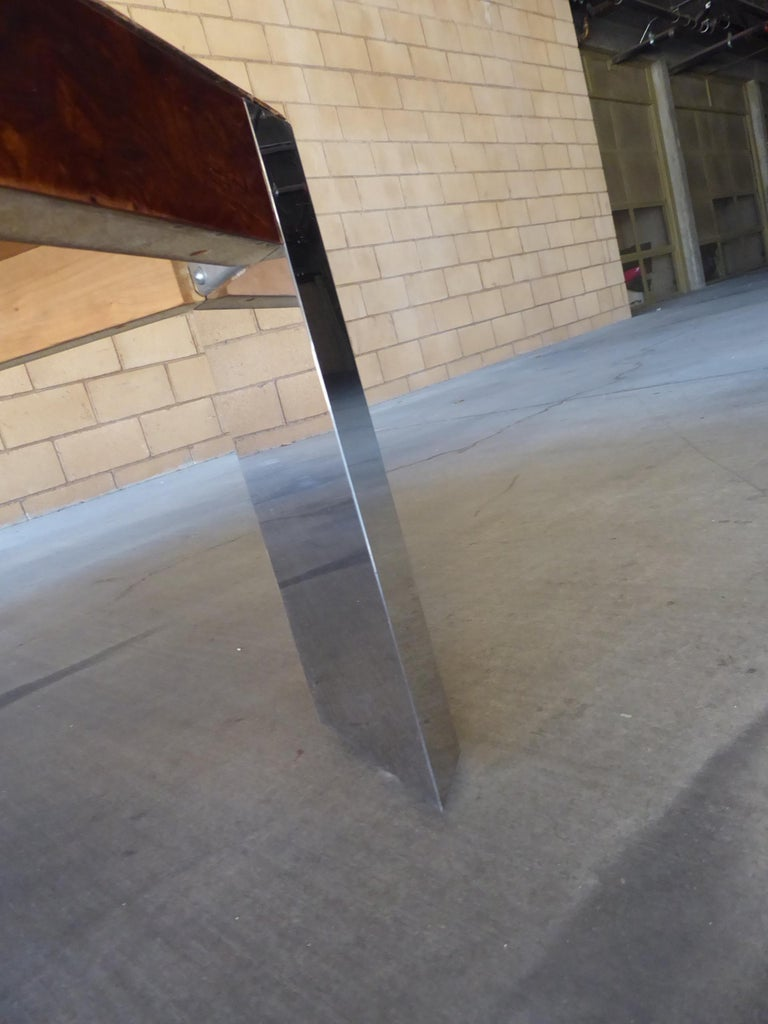 Burled Walnut and Chromed Steel Coffee Table Designed by Leon Rosen for Pace For Sale 3