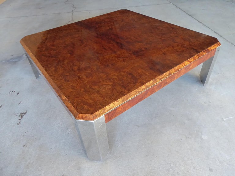 Burled Walnut and Chromed Steel Coffee Table Designed by Leon Rosen for Pace For Sale 4