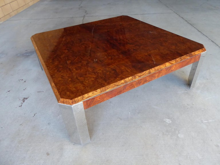 American Burled Walnut and Chromed Steel Coffee Table Designed by Leon Rosen for Pace For Sale