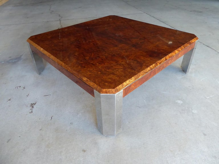 Burled Walnut and Chromed Steel Coffee Table Designed by Leon Rosen for Pace In Excellent Condition For Sale In Palm Springs, CA