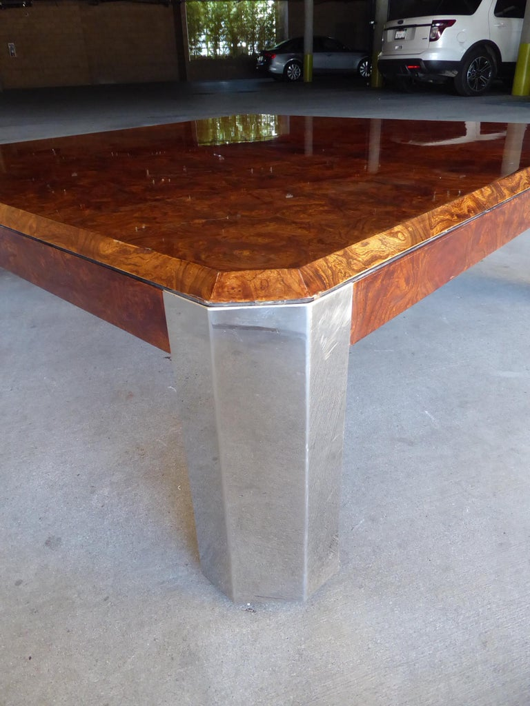 Late 20th Century Burled Walnut and Chromed Steel Coffee Table Designed by Leon Rosen for Pace For Sale