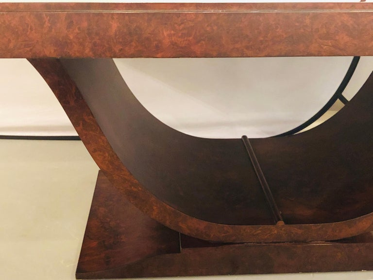 Contemporary Burled Walnut Art Deco Inspired Lauder Alcott Dining Table For Sale