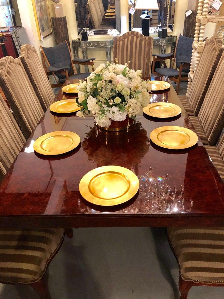 Burled Walnut Art Deco Inspired Lauder Alcott Dining Table For Sale 1