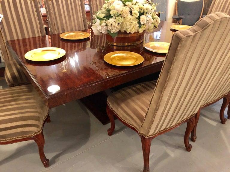 Burled Walnut Art Deco Inspired Lauder Alcott Dining Table For Sale 2