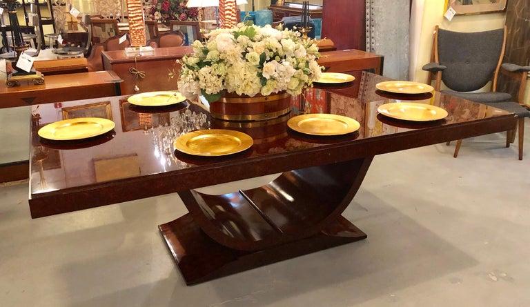 Burled Walnut Art Deco Inspired Lauder Alcott Dining Table For Sale 3