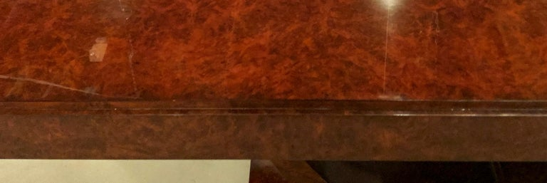 Burled Walnut Art Deco Inspired Lauder Alcott Dining Table For Sale 4