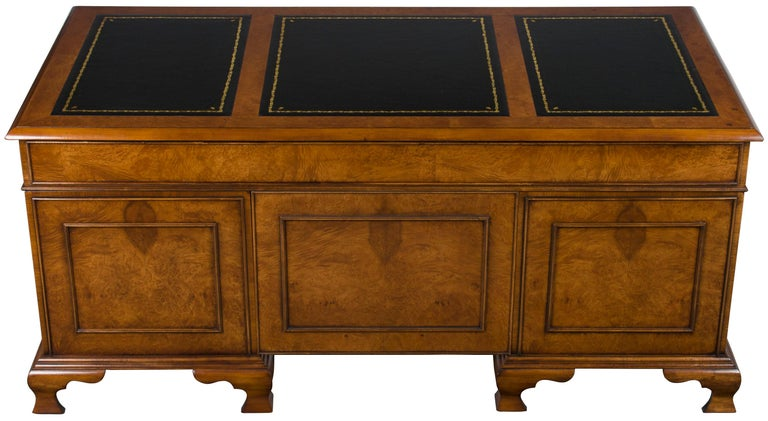 Burled Walnut Black Leather Top Executive Home Office Pedestal Desk For Sale 5