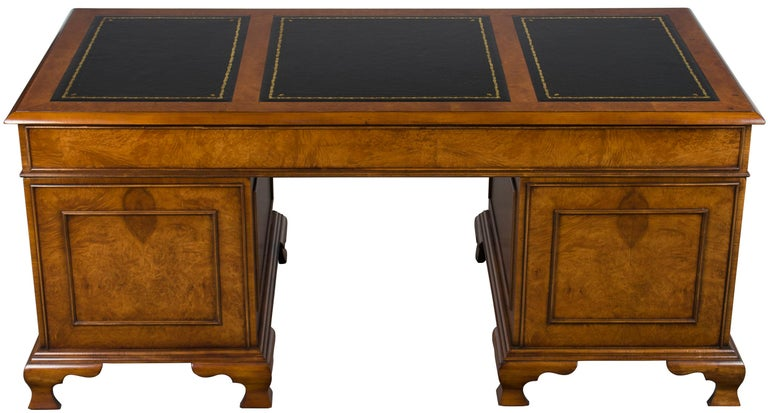 Burled Walnut Black Leather Top Executive Home Office Pedestal Desk For Sale 6