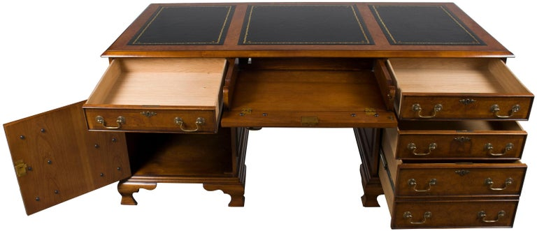 Contemporary Burled Walnut Black Leather Top Executive Home Office Pedestal Desk For Sale