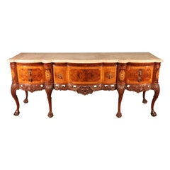 Burled Walnut Georgian Inlaid Ball and Claw Marble Top Sideboard Buffet Server