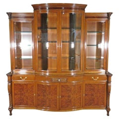 Burled Walnut Lighted Adams Style China Cabinet with Removable Crest