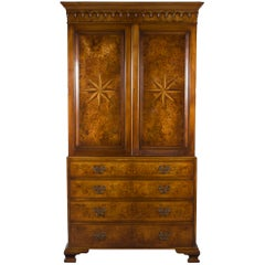 Burled Walnut Star Inlaid Linen Press TV Cabinet Entertainment Centre