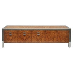 Burled Wood and Chrome Credenza by Pace