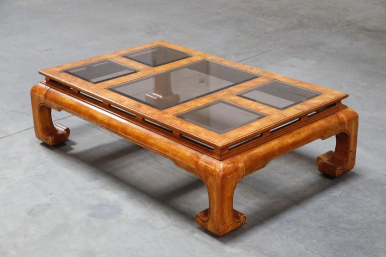 This blast from the past burled wood coffee table and side tables set is by Century Furniture, circa 1970s, in the Ming style, featuring glamorous burled wood and smoked glass tile inserts, with amazing details such as beveled glass for each insert,