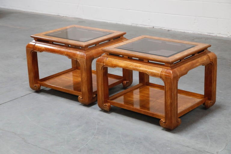 American Burled Wood Chinoiserie Ming Styled Coffee Table and End Tables Set by Century For Sale
