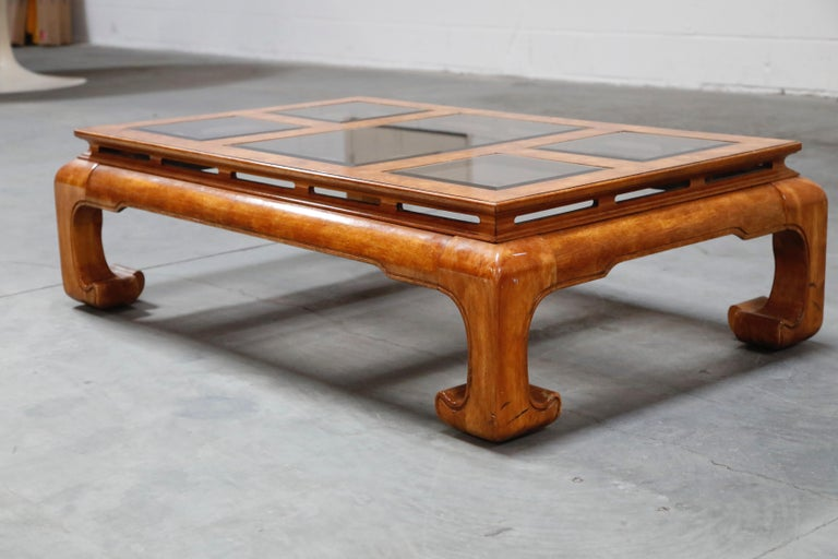 Burled Wood Chinoiserie Ming Styled Coffee Table and End Tables Set by Century In Excellent Condition For Sale In Los Angeles, CA