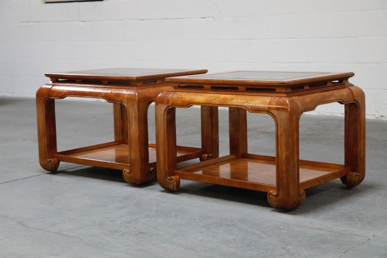 Late 20th Century Burled Wood Chinoiserie Ming Styled Coffee Table and End Tables Set by Century For Sale