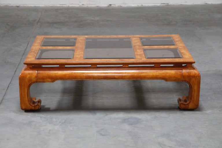 Burled Wood Chinoiserie Ming Styled Coffee Table and End Tables Set by Century For Sale 1