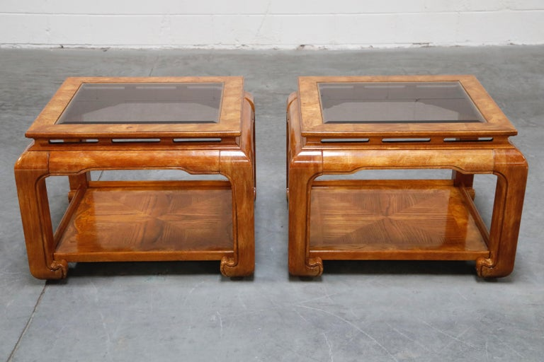 Burled Wood Chinoiserie Ming Styled Coffee Table and End Tables Set by Century For Sale 2