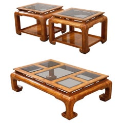 Burled Wood Chinoiserie Ming Styled Coffee Table and End Tables Set by Century