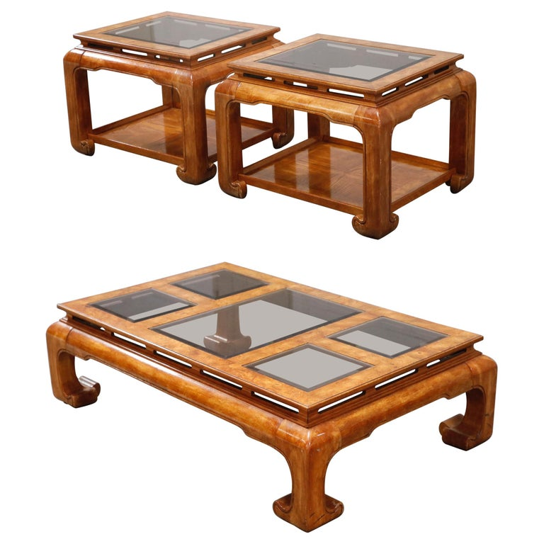 Burled Wood Chinoiserie Ming Styled Coffee Table and End Tables Set by Century For Sale