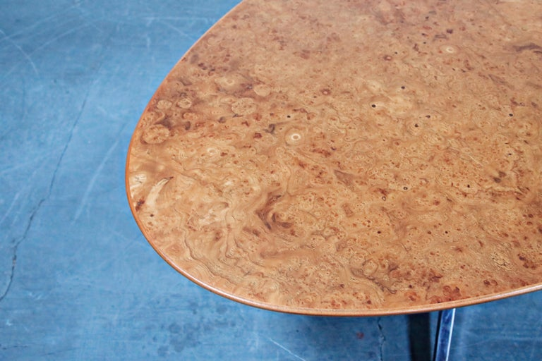 Burled Wood Dining Table by Florence Knoll for Knoll International 1976, Signed 6