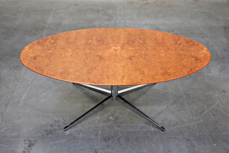 Mid-Century Modern Burled Wood Dining Table by Florence Knoll for Knoll International 1976, Signed