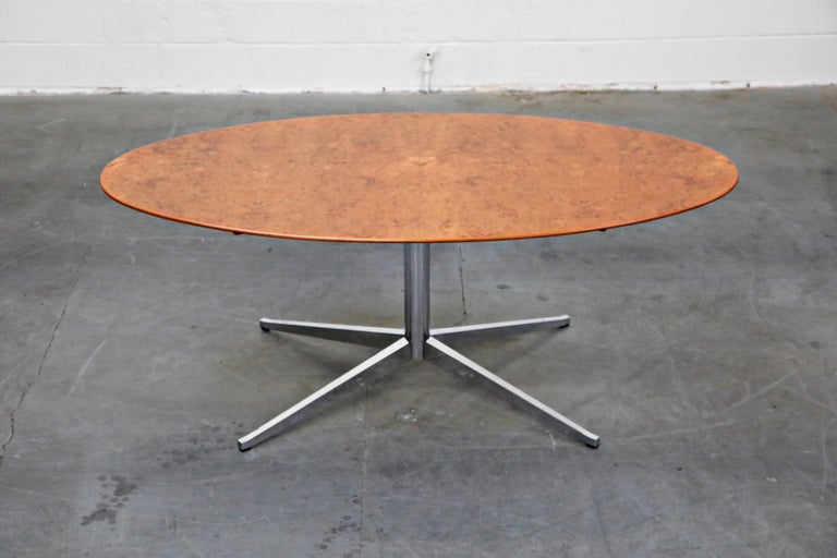 American Burled Wood Dining Table by Florence Knoll for Knoll International 1976, Signed