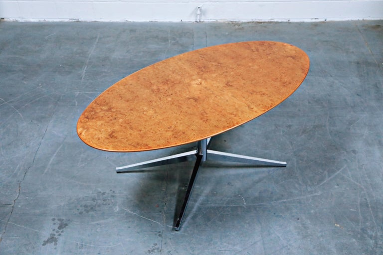 Late 20th Century Burled Wood Dining Table by Florence Knoll for Knoll International 1976, Signed