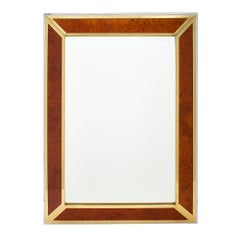 Burled Wood Modernist French Mirror