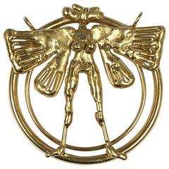 Burlini 1970s Large Gold Tone Bronze Figural Sculpture Pendant
