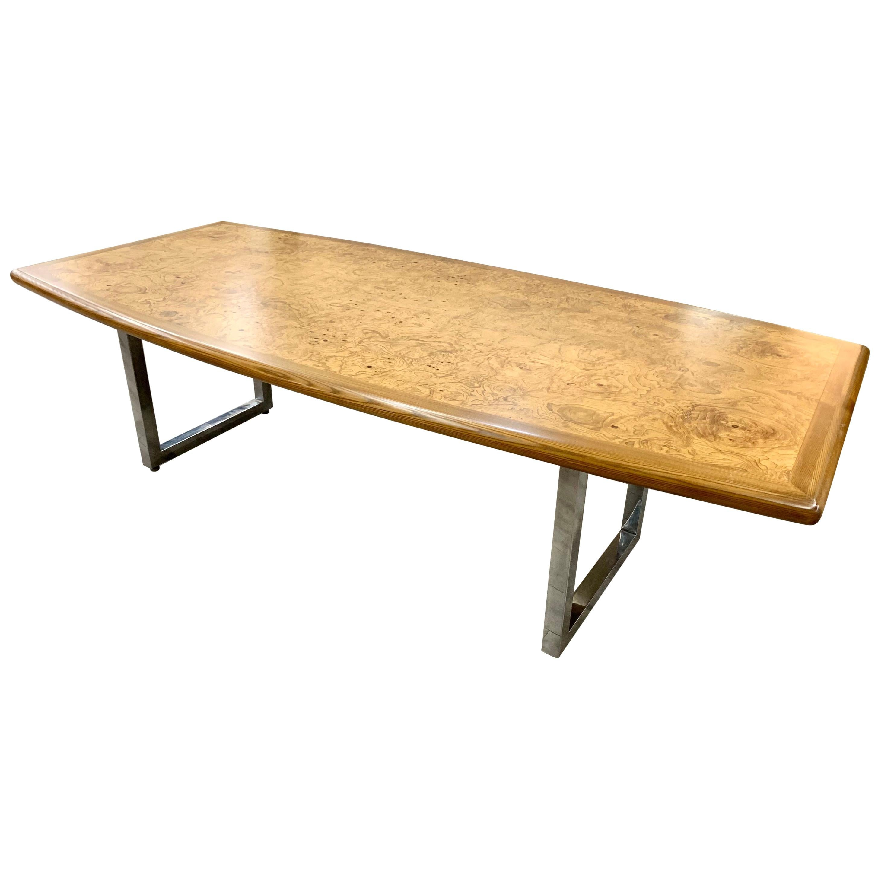 Burlwood and Chrome Boat Shaped Dining Table