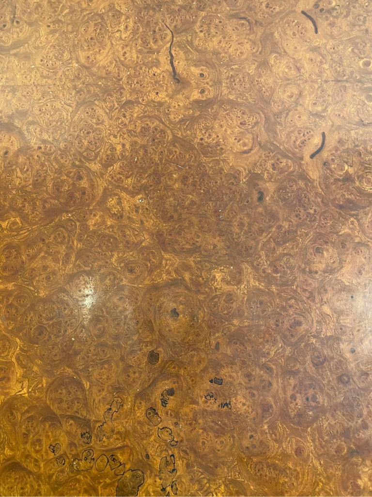 Burl Wood and Polished Steel Desk by Leon Rosen for Pace Collection, circa 1970 For Sale 4