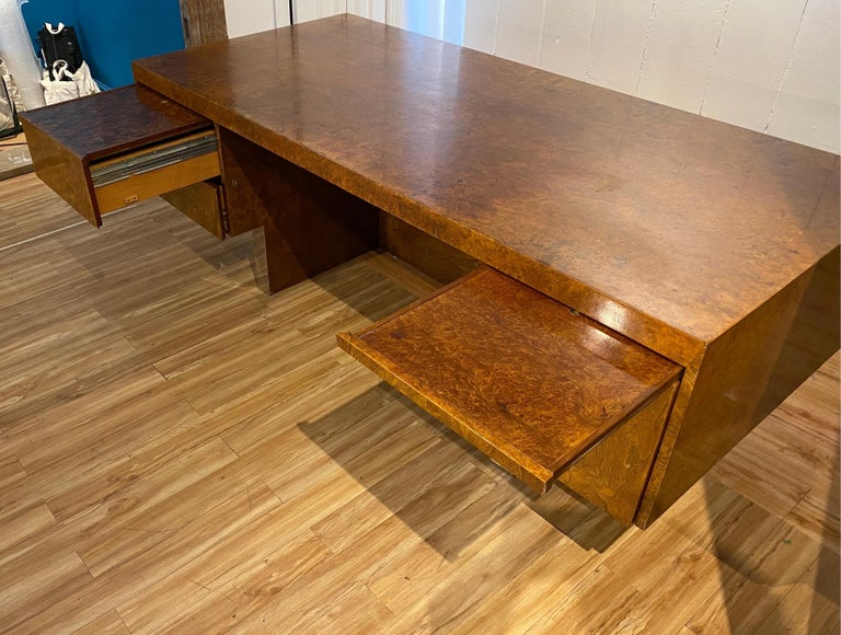 Burl Wood and Polished Steel Desk by Leon Rosen for Pace Collection, circa 1970 For Sale 5