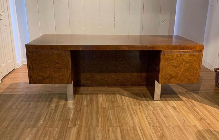 Great burl wood and polished stainless steel desk by Leon Rosen for Pace Collection, circa 1970.