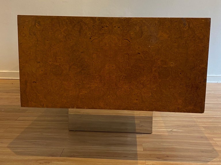 Burl Wood and Polished Steel Desk by Leon Rosen for Pace Collection, circa 1970 For Sale 1